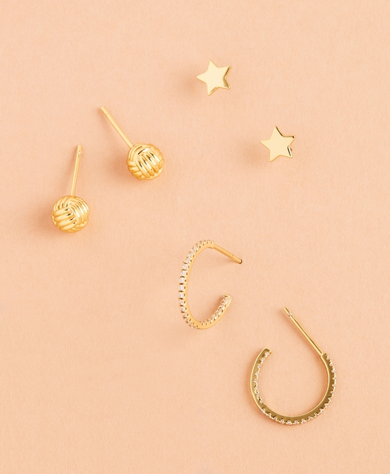 Shine Bright Demi Fine Earrings - Set of Three Gold