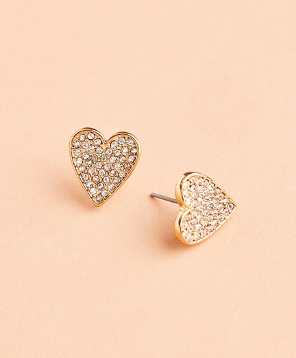 Crystal-Covered Heart Stud Earrings