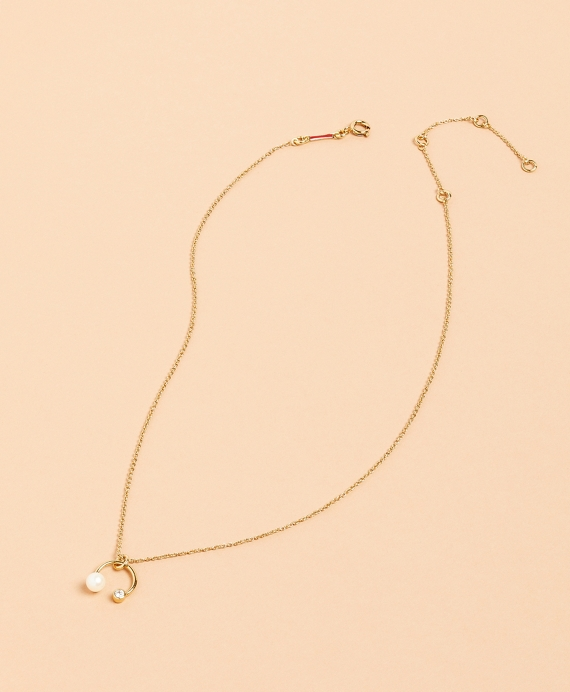 Demi-Fine Freshwater Pearl & Crystal Necklace Gold