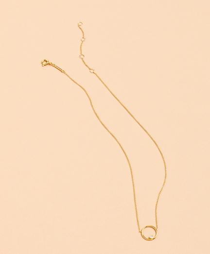 Demi-Fine Crystal Circle Pendant Necklace