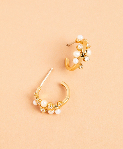 Demi-Fine Freshwater Pearl & Crystal Hoop Earrings