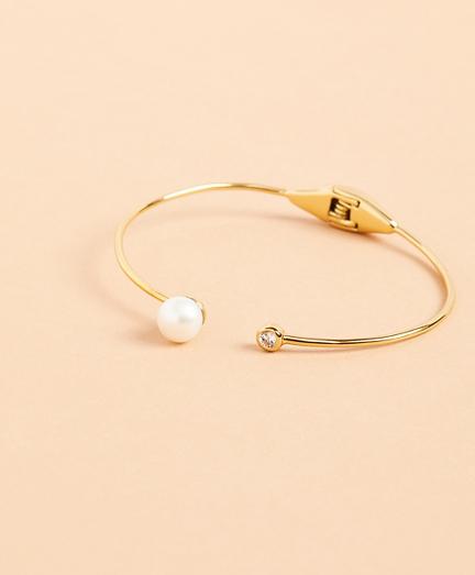 Demi-Fine Freshwater Pearl & Crystal Cuff Bracelet