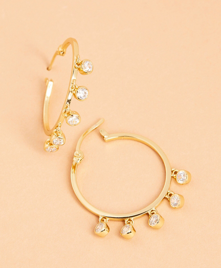 Demi-Fine Crystal-Pendant Hoop Earrings
