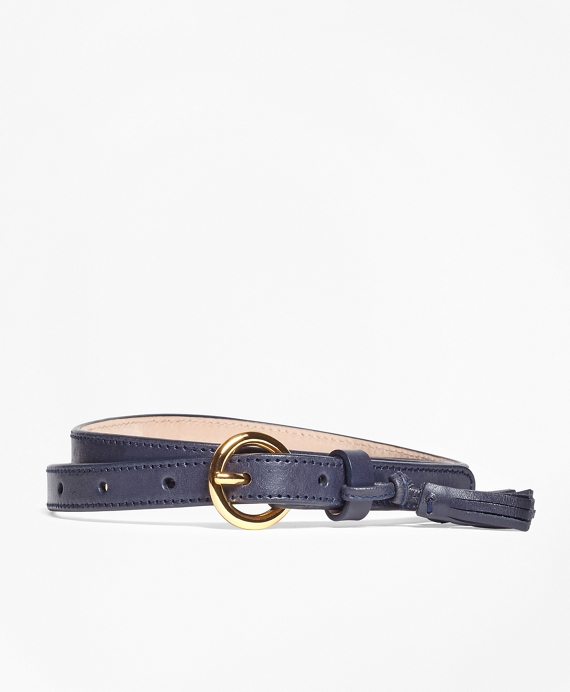 Leather Trouser Belt with Tassel Navy