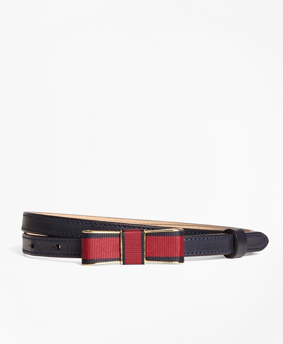 Leather Bow-Buckle Belt Navy
