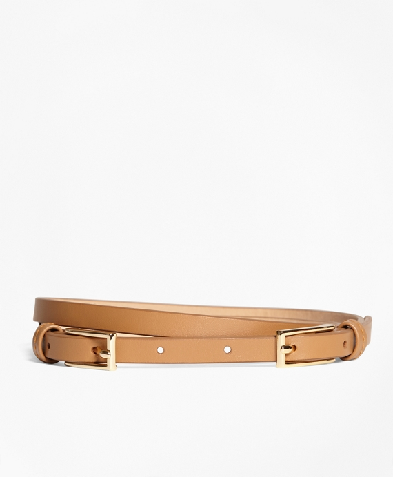 Leather Two-Buckle Belt Cognac