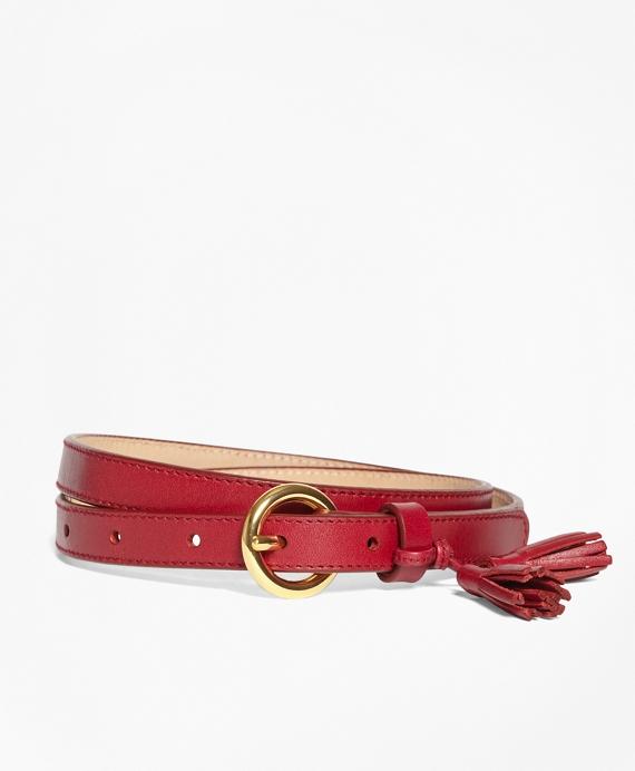 Tasseled Leather Belt Red