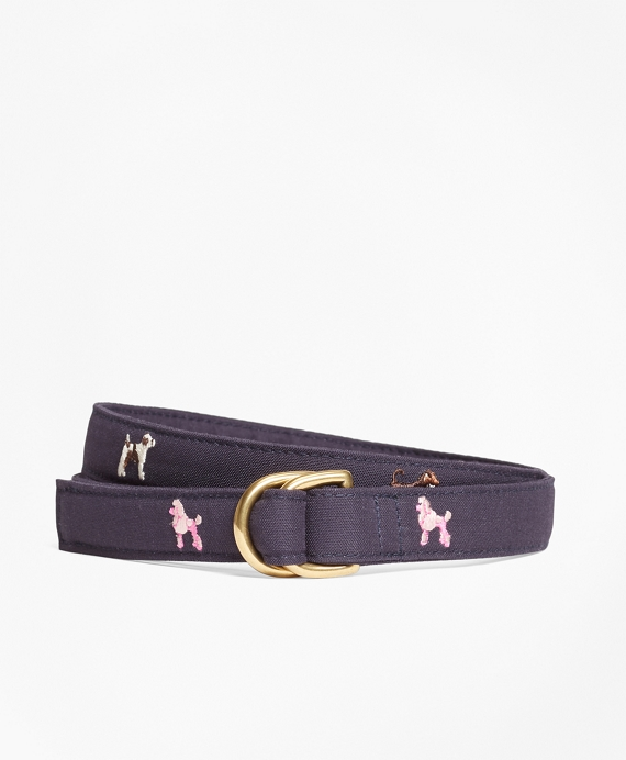 Dog-Embroidered D-Ring Belt Navy