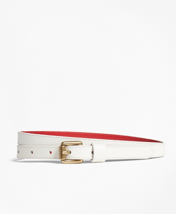 Skinny Leather Belt White