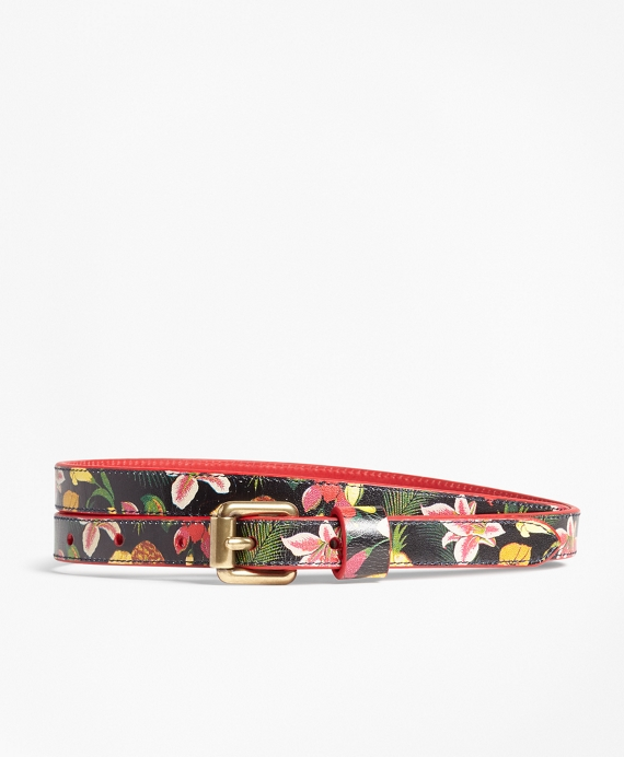 Tropical-Print Skinny Leather Belt Navy-Multi