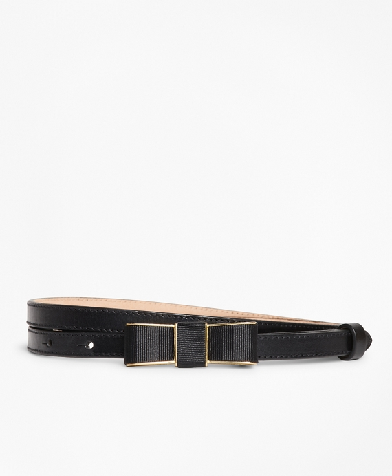 Leather Bow-Buckle Belt Black