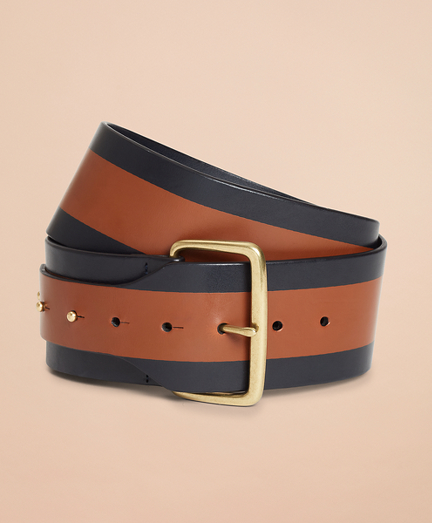 Striped Leather Wide Waist Belt