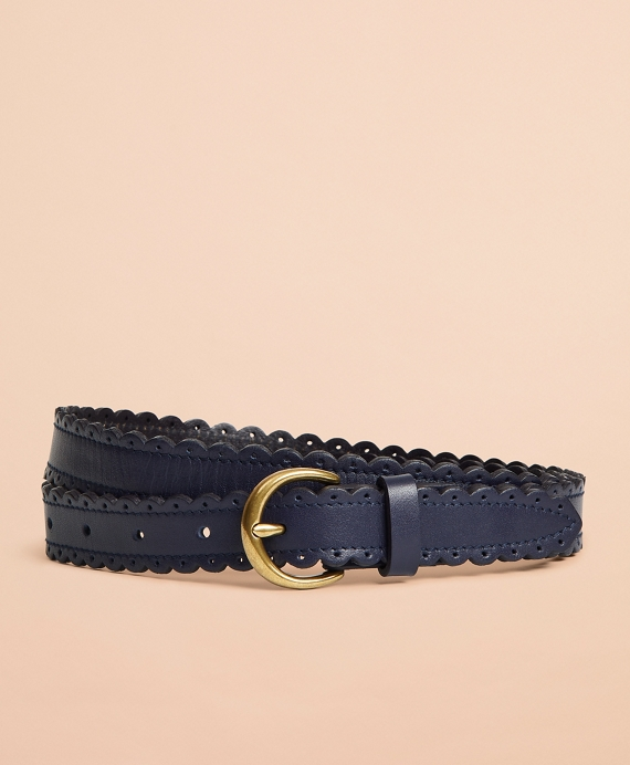 Scalloped Leather Belt Navy