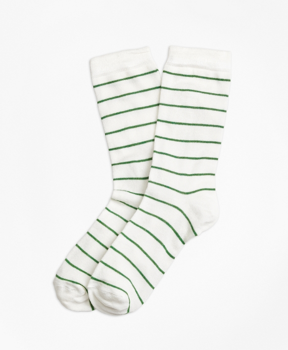 Striped Crew Socks White-Green