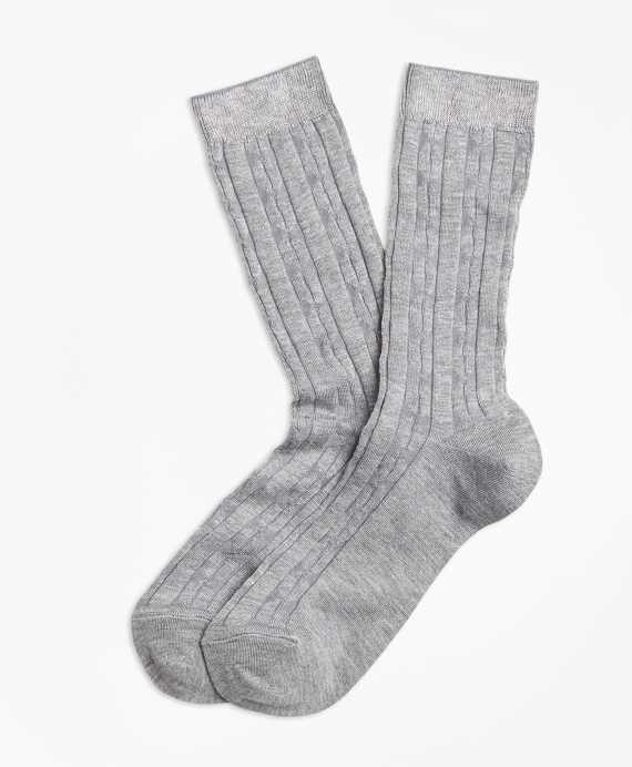 Cable-Knit Socks Grey