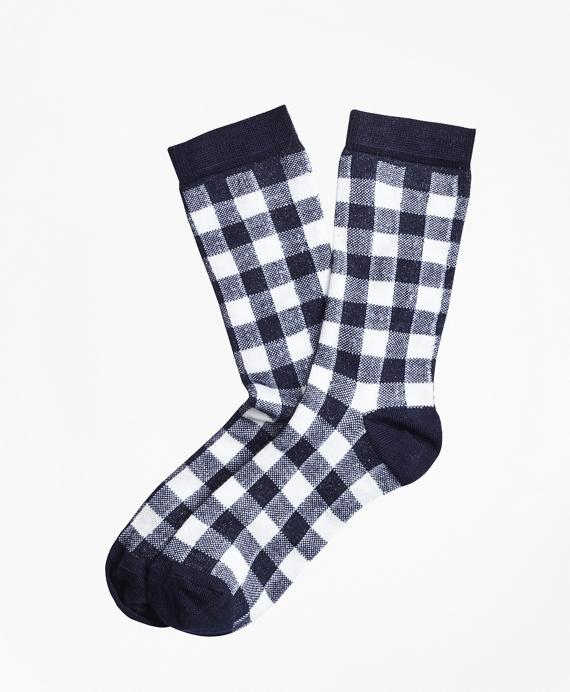 Gingham Socks Navy