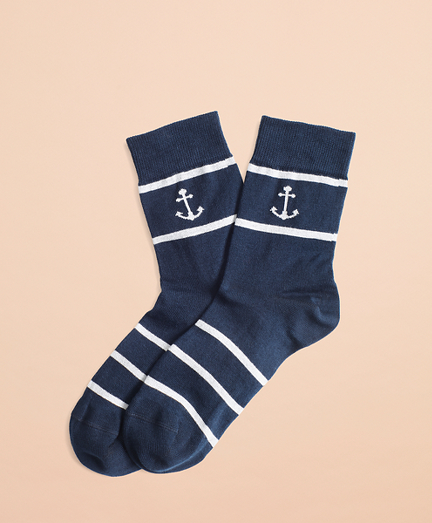 Anchor & Stripe Cotton-Blend Socks