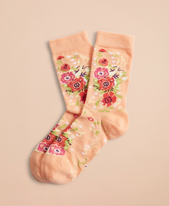 Floral-Pattern Socks Peach