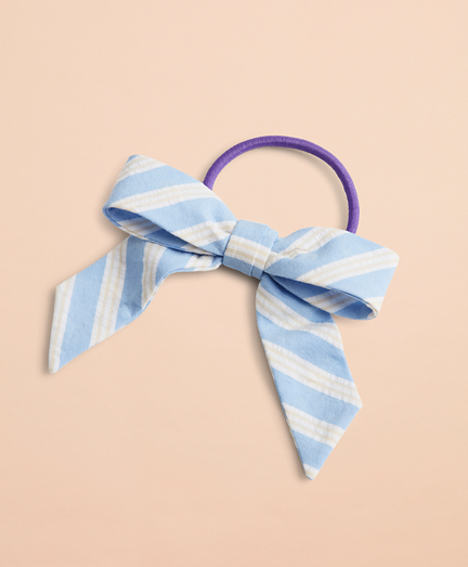 Striped Seersucker Hair Bow