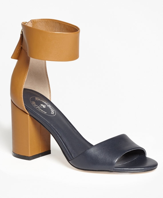Color-Block Ankle-Strap Stacked-Heel Sandals Navy