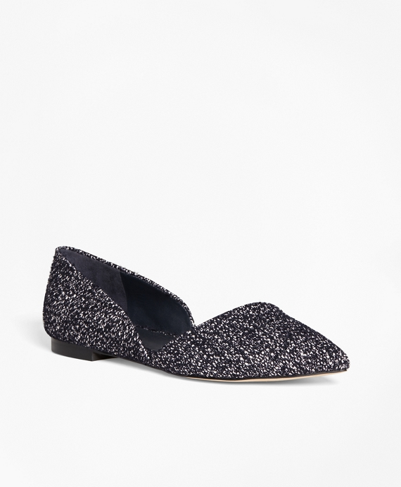 Leather Boucle d'Orsay Flats Navy
