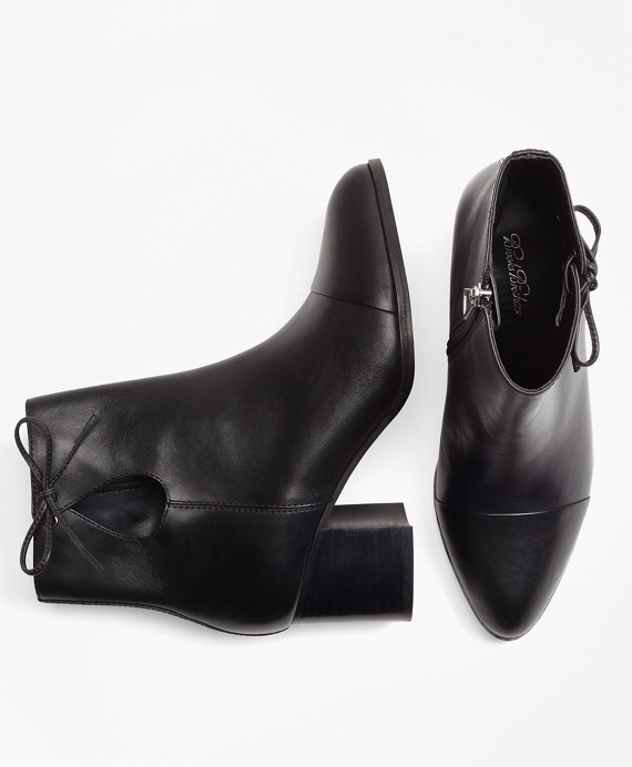 Bow-Trimmed Leather Ankle Boots Black