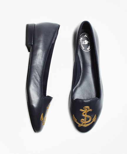 Anchor-Embroidered Leather Flats