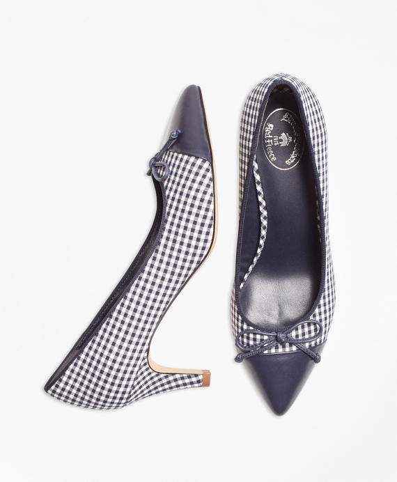 Gingham Point-Toe Pumps