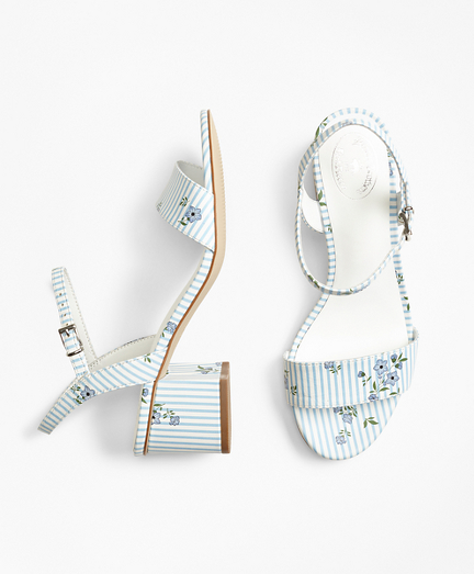 Striped Floral-Print Leather Block-Heel Sandals