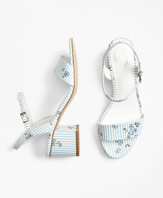 0f6f17d72 Striped Floral-Print Leather Block-Heel Sandals - Brooks Brothers