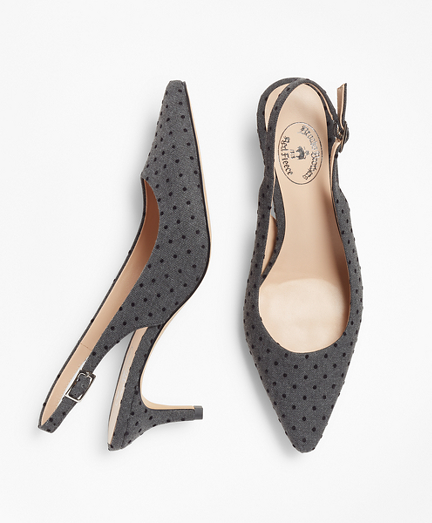 Polka-Dot Sling-Back Kitten Heel Pumps