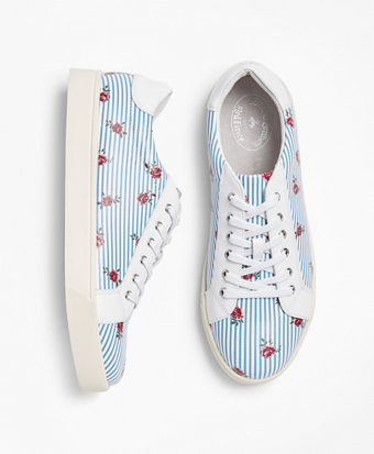 Rose-Print Striped Leather Low-Top Sneakers