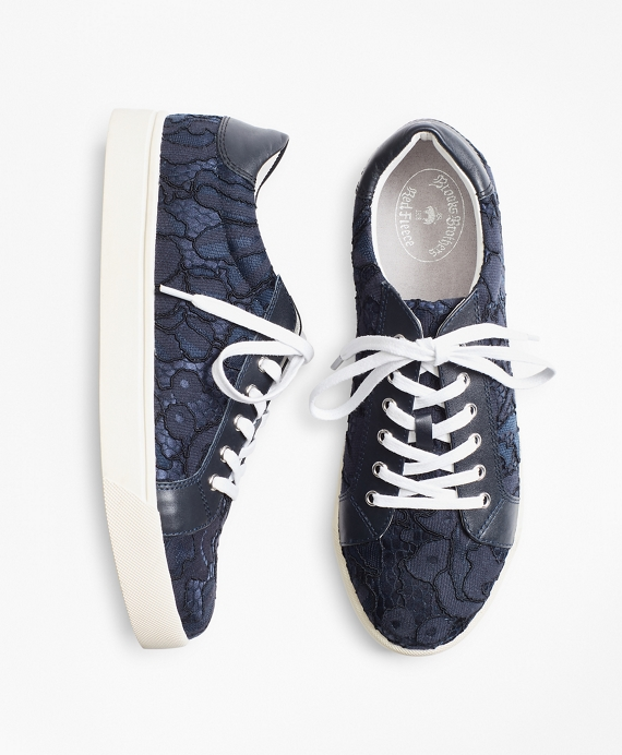 Floral Lace Low-Top Sneakers Navy