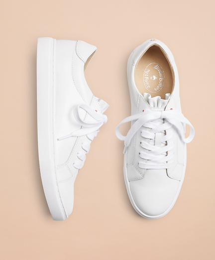 Ruffle-Trimmed Leather Low-Top Sneakers