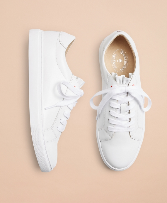 Ruffle-Trimmed Leather Low-Top Sneakers White