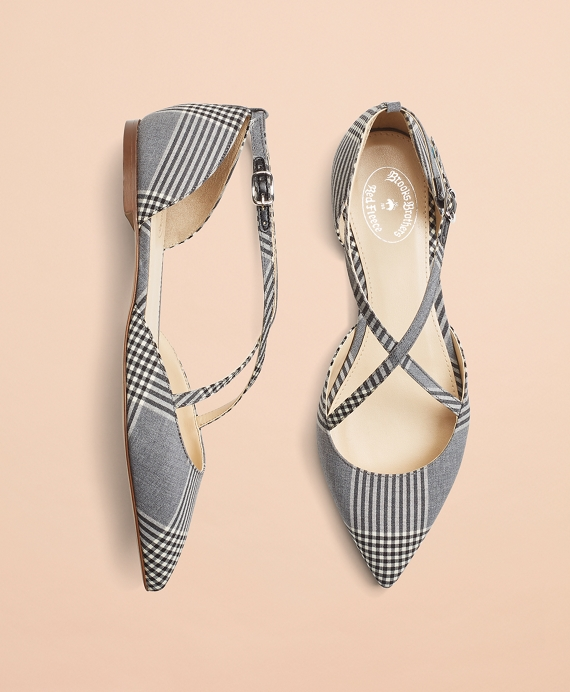 Plaid Wool Point-Toe Flats Grey