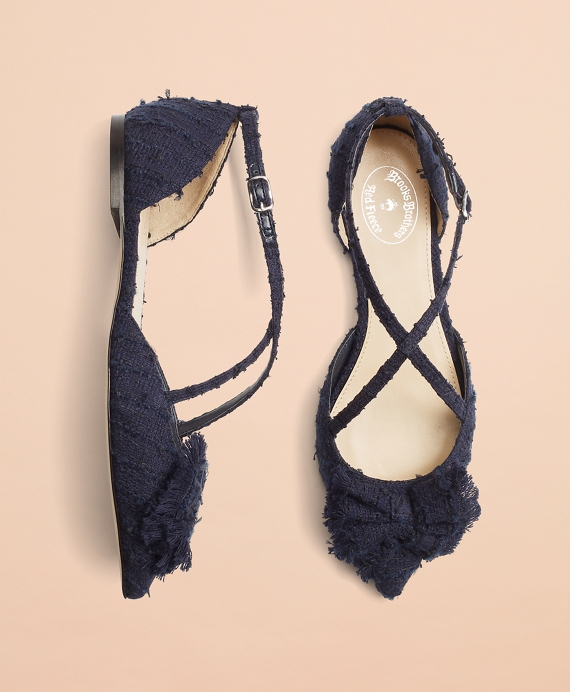 Shimmer Boucle Point-Toe Flats Navy