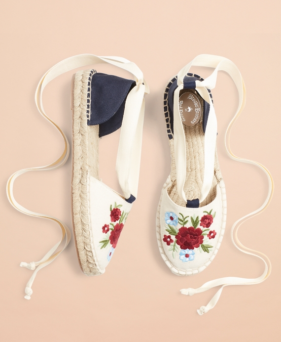 Floral-Embroidered Espadrilles Natural