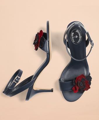 Floral-Applique Leather Kitten-Heel Sandals