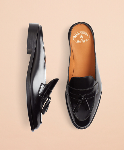 Leather Tassel Loafer Mules