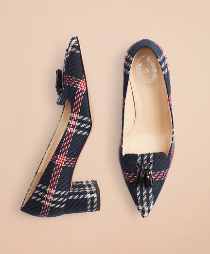 Plaid Point-Toe Block-Heel Pumps