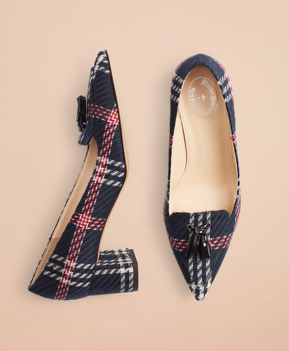 Plaid Point-Toe Block-Heel Pumps Navy