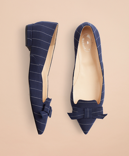 Pinstripe Point-Toe Flats