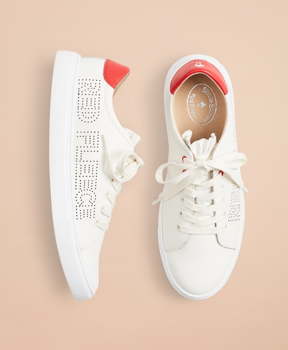 Ruffle-Trimmed Logo-Detail Leather Low-Top Sneakers White