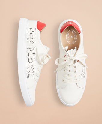 Ruffle-Trimmed Logo-Detail Leather Low-Top Sneakers