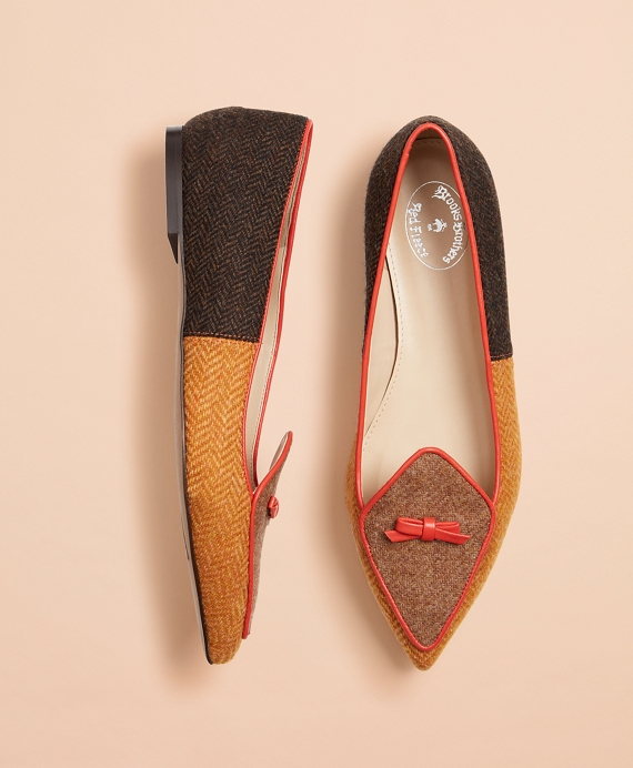 Patchwork Wool Tweed Point-Toe Flats Brown
