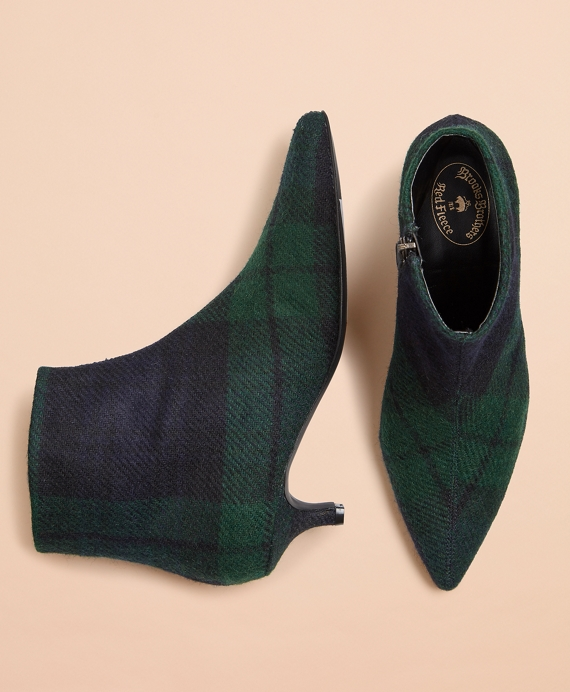 Black Watch Tartan Wool Kitten-Heel Ankle Boots Navy-Green
