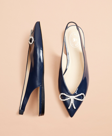 Patent Leather Point-Toe Sling-Back Flats