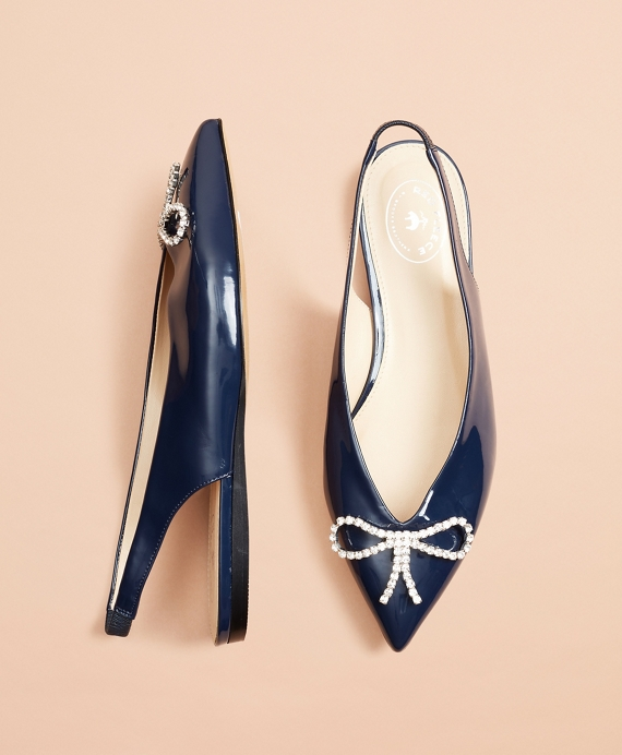 Patent Leather Point-Toe Sling-Back Flats Navy