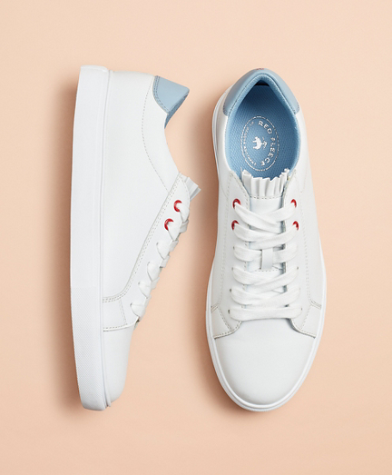 Ruffle-Trim Color-Block Leather Low-Top Sneakers